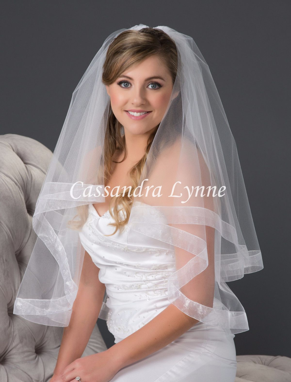 wedding veils Two Tier Wedding Veil with Wide Sheer Organza Ribbon Trim