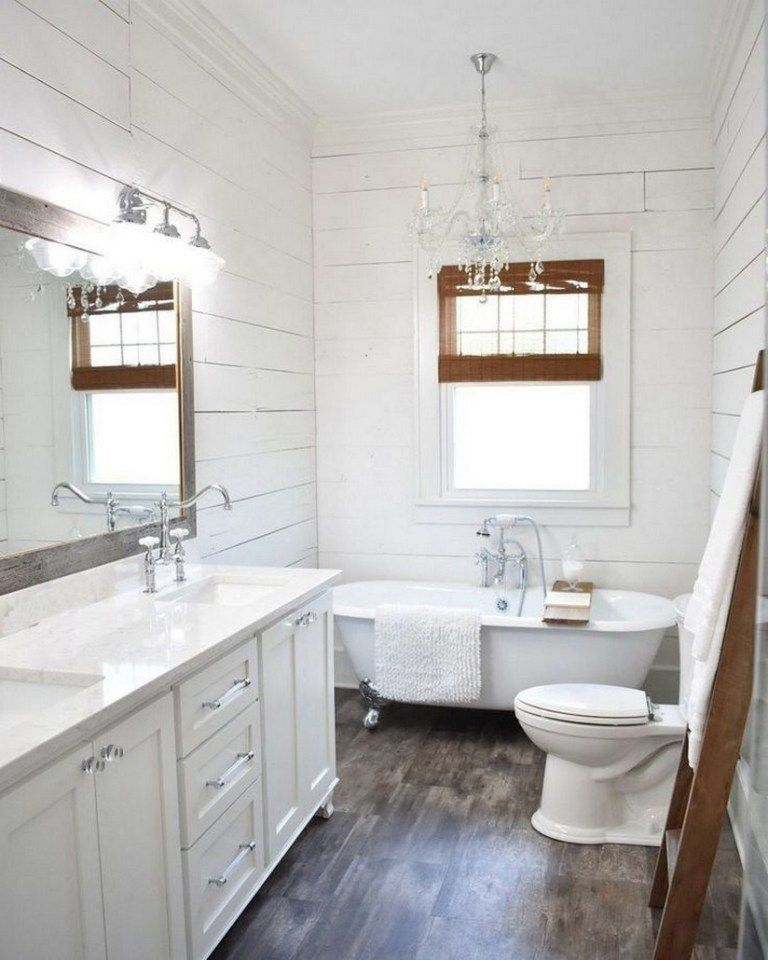 55 modern farmhouse master bathroom renovation ideas : the process & reveal #