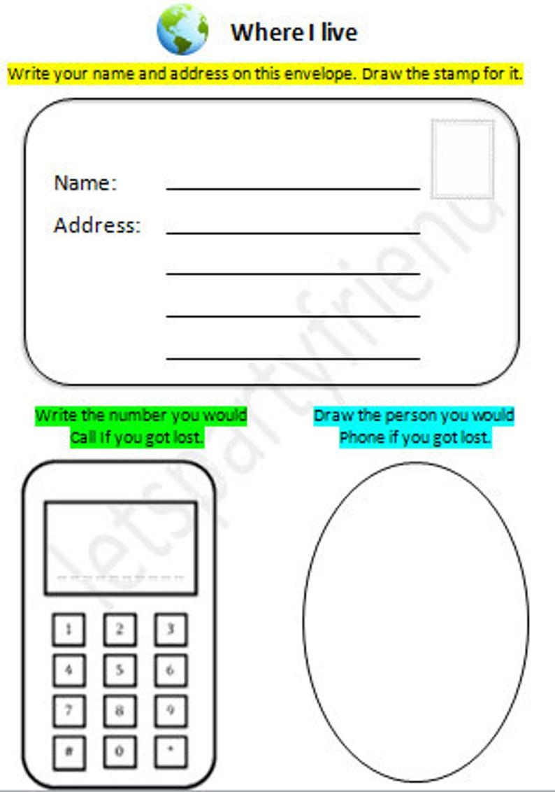 Address Kids Activity Address Practice Home School Etsy School Address Activities For Kids Homeschool [ 1132 x 794 Pixel ]