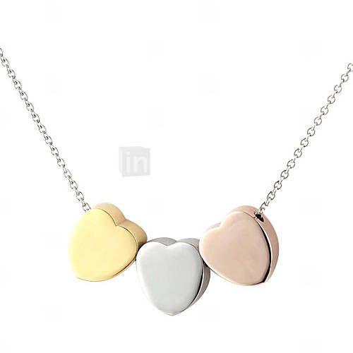 9d76f4792ede EUR € 16.60 - 316L de acero inoxidable de tres colores corazón colgante  collar de cadena para las mujeres con caja de regalo