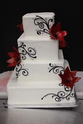 Black Silver And Red Wedding Cake