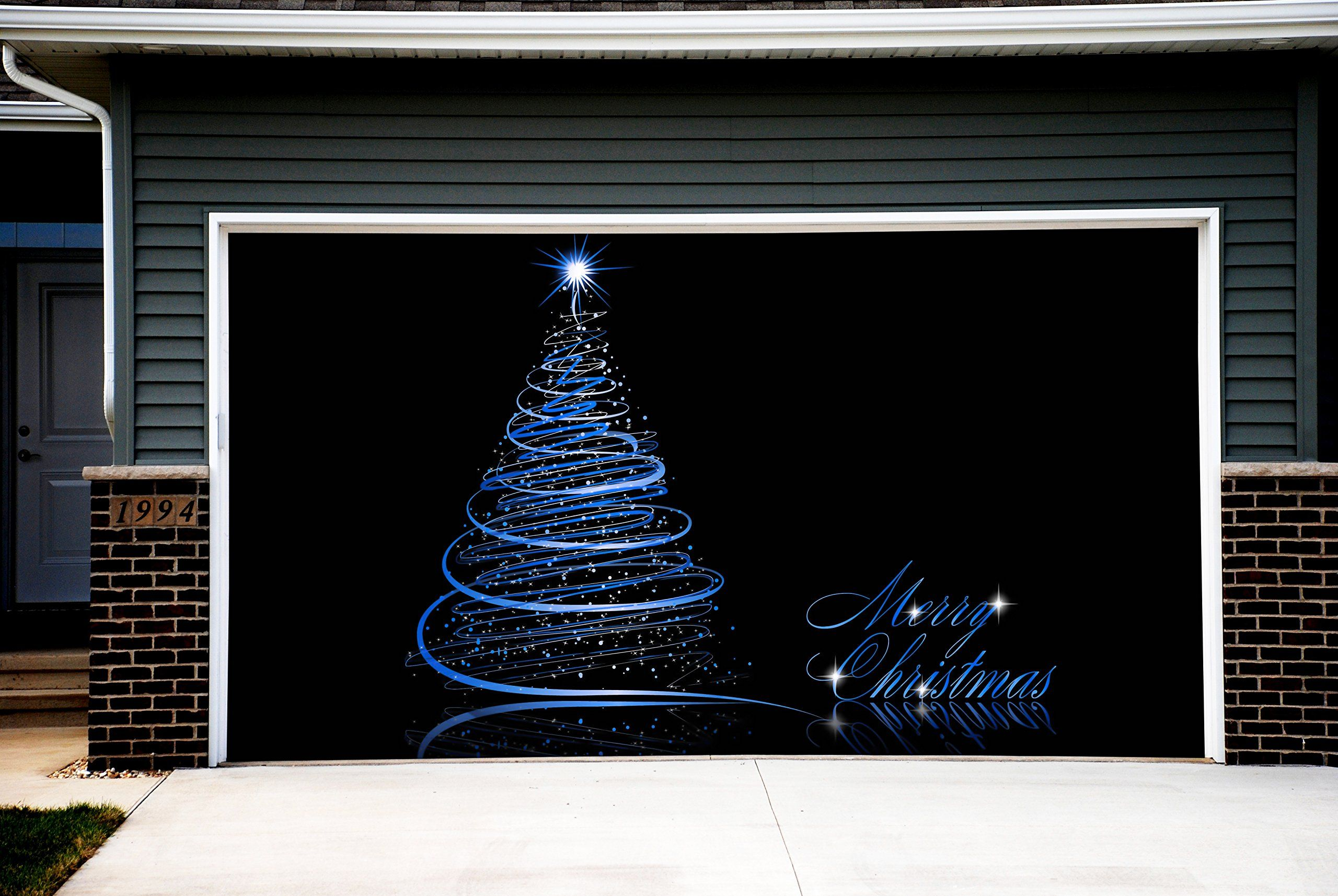 Garage door christmas decorations - Christmas Tree Garage Door Covers 3d Banners Outside Art House Decoration Outdoor Gd55