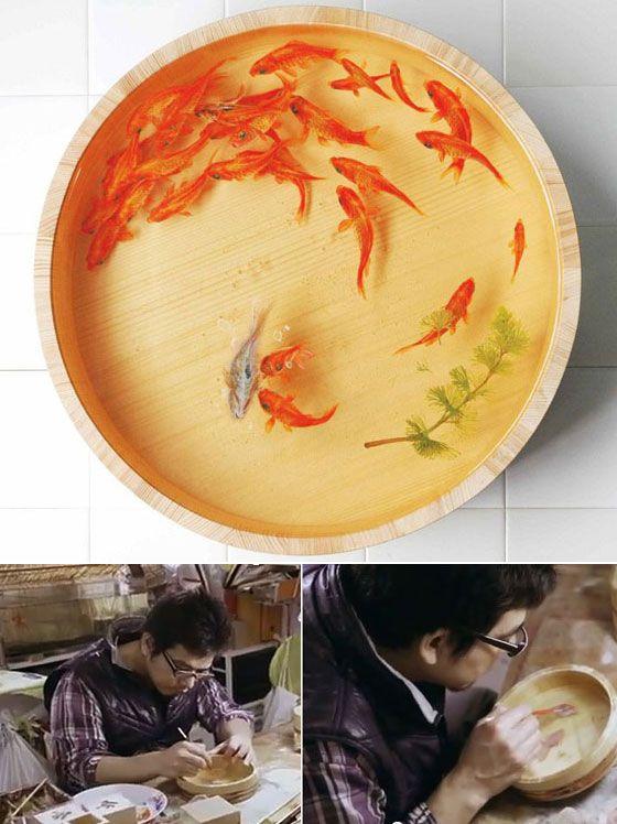 Riusuke Fukahori Paints ThreeDimensional Goldfish Embedded In - Incredible 3d goldfish drawings using resin