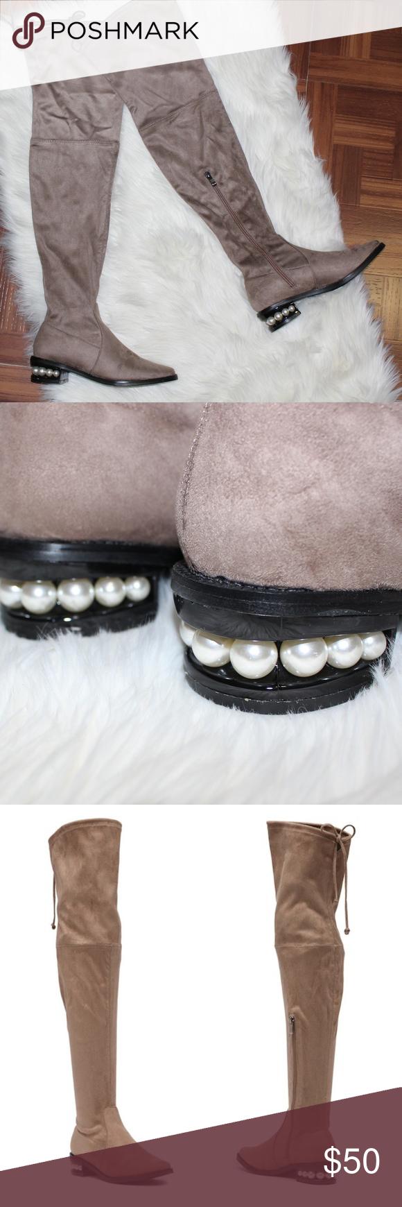 9a4a2fa306c BNIB Catherine Malandrino Taupe Over-the-Knee Boot Catherine Malandrino  Perse Embellished Over-