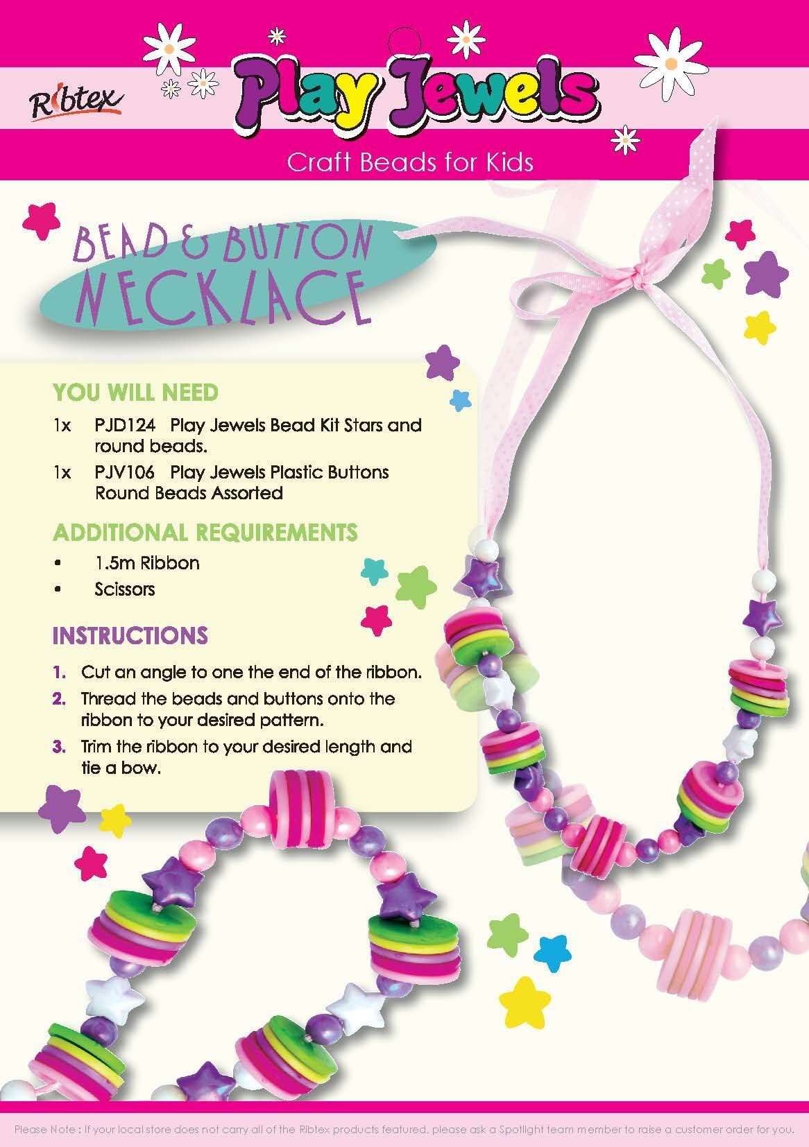 Ribtex, DIY, How To Projects, Kids Bead & Button Necklace, Beads ...