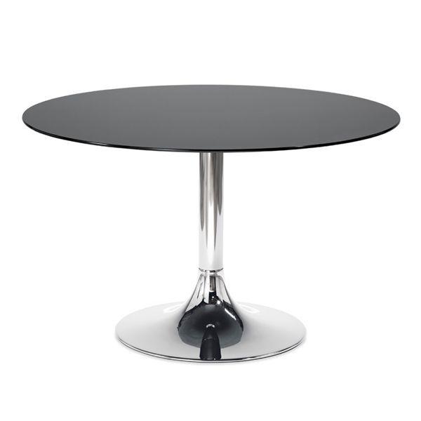 Domitalia Corona 120 Round Table Chrome Base Black Glass Top The Corona