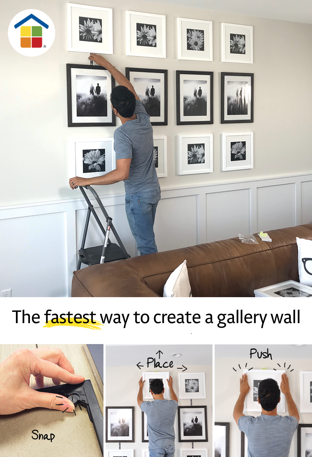 Place&Push® 3 Frame Set Frames on wall, Gallery wall
