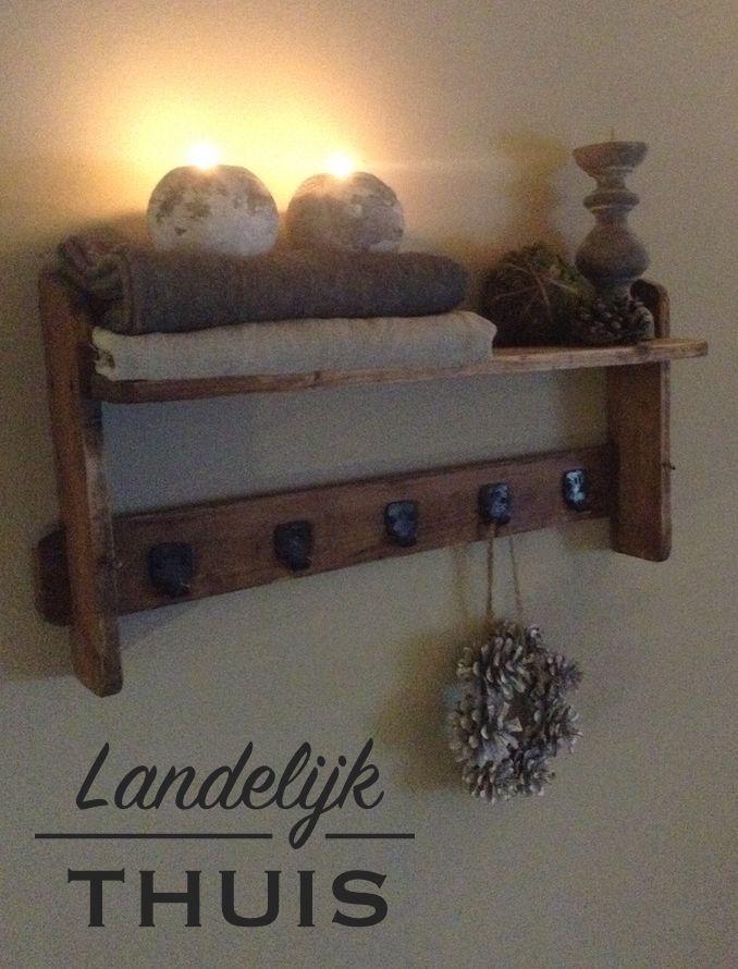 Decoratie wandplank kapstok landelijke stijl stoer wonen pinterest kapstok decoratie en - Decoratie eetkamer hok ...