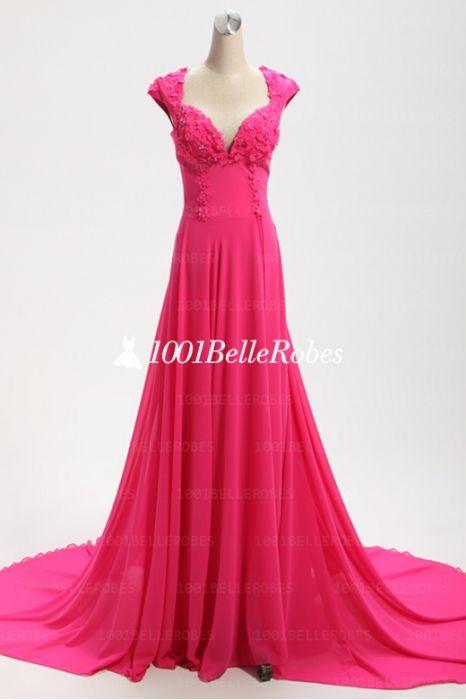 Belle Robe De Soiree Longue En Couleur Rose Bonbon Bustier Avec