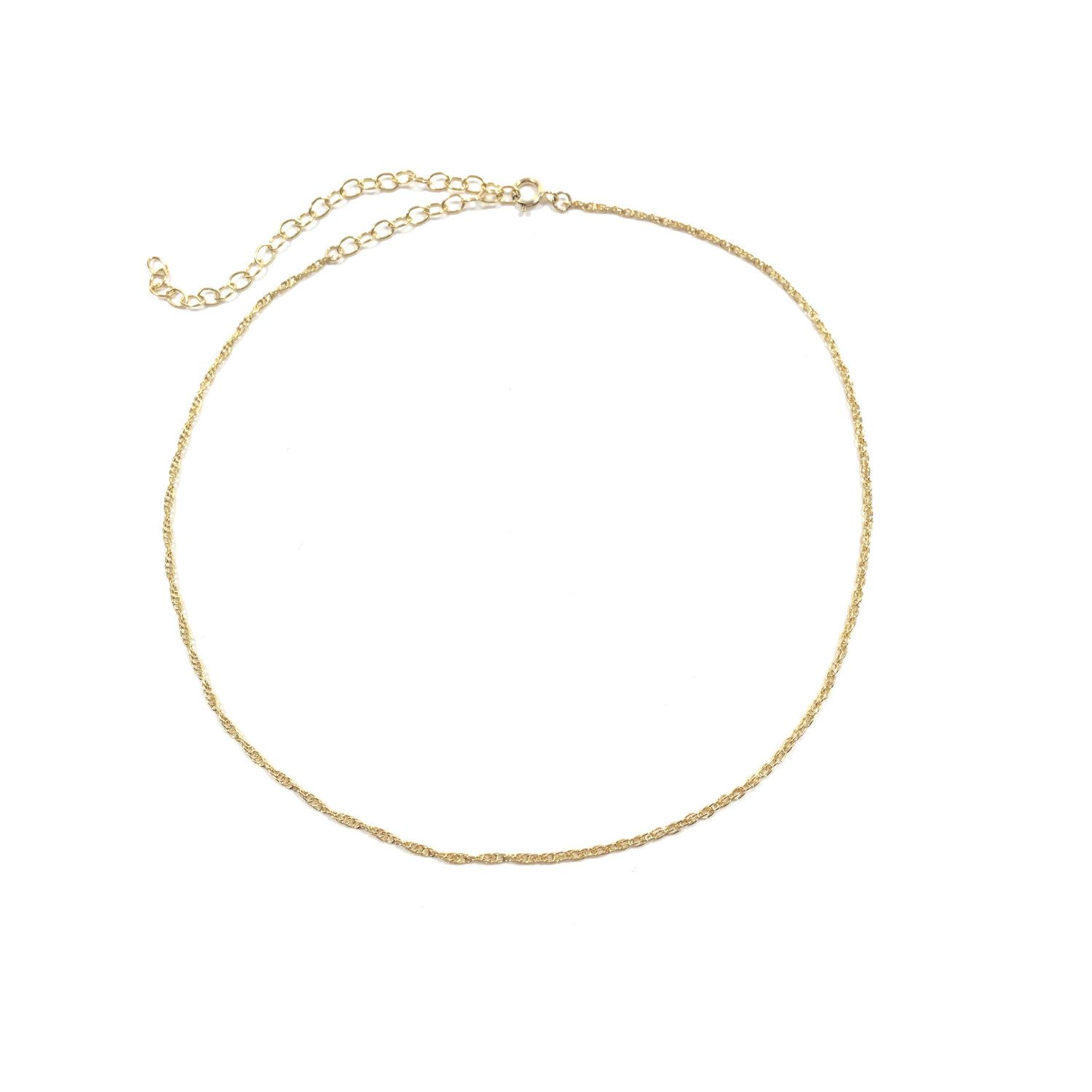 Barely There Dainty Thin Twisted Rope Chain Choker Minimal Simple ...