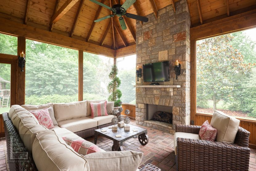 Outdoor porch fireplace porch in nashville the porch company porch design and - Screened porch furniture ideas ...