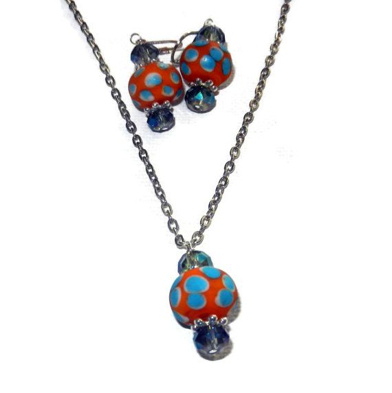 Orange and Bright Blue Polka Dot Crystal by CloudNineDesignz