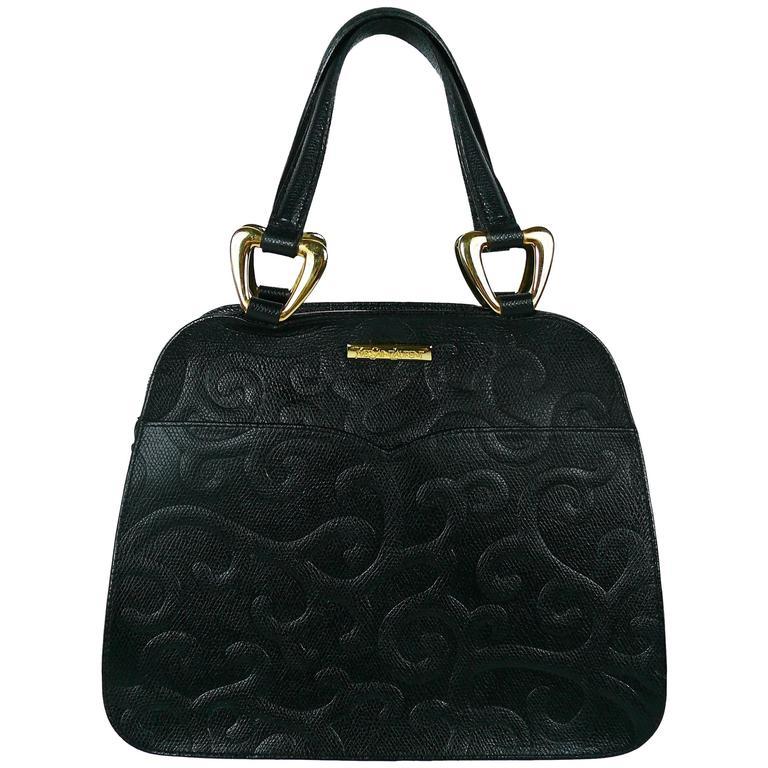 Yves Saint Laurent Ysl Vintage Black Leather Arabesque Handbag In 2020 Rare Handbags Yves Saint Laurent Handbag