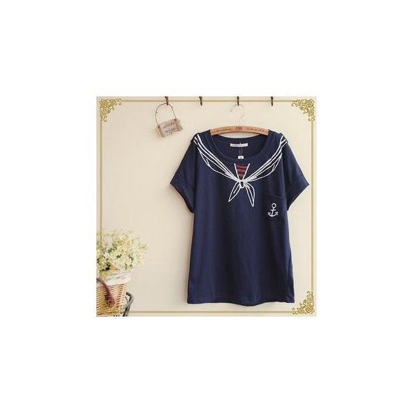 Trompe L'oeilSailor T-Shirt (£7.33) ❤ liked on Polyvore featuring tops, t-shirts, tees, women, pattern t shirts, print t shirts, cotton t shirt, navy tee and pattern tops