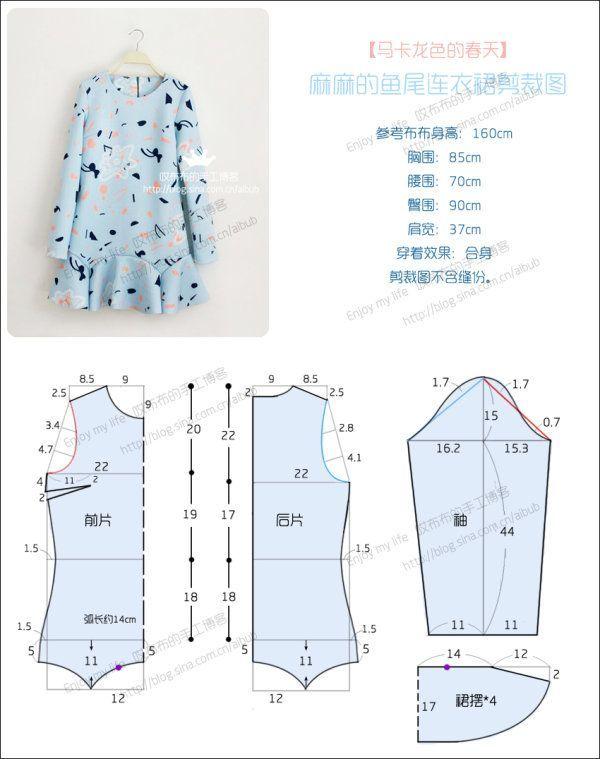 Vestido para ninas #moldes #patrones #vestidos   Patrones de Costura ...