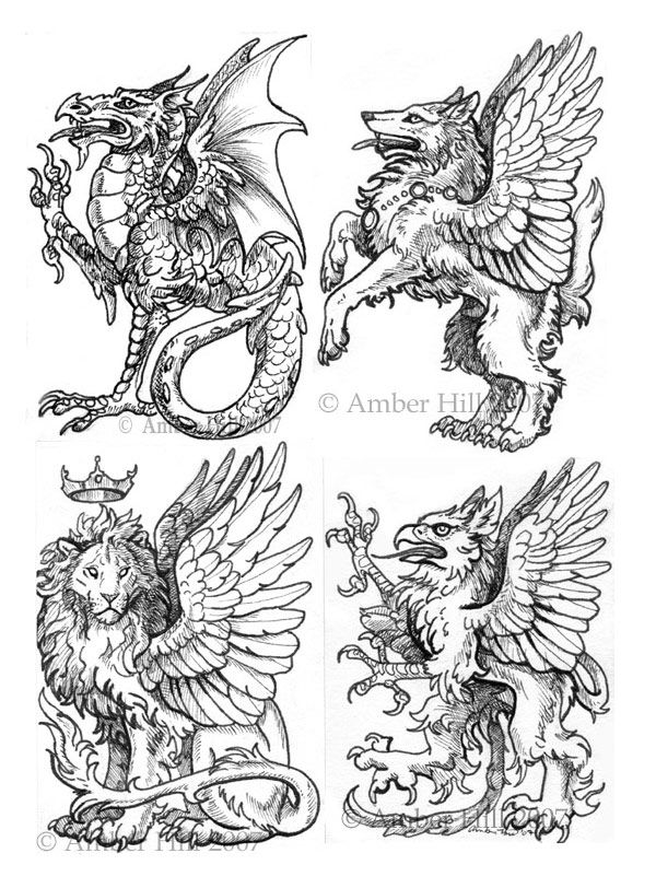 Heraldic Quartet Medieval Drawings Art Creature Art