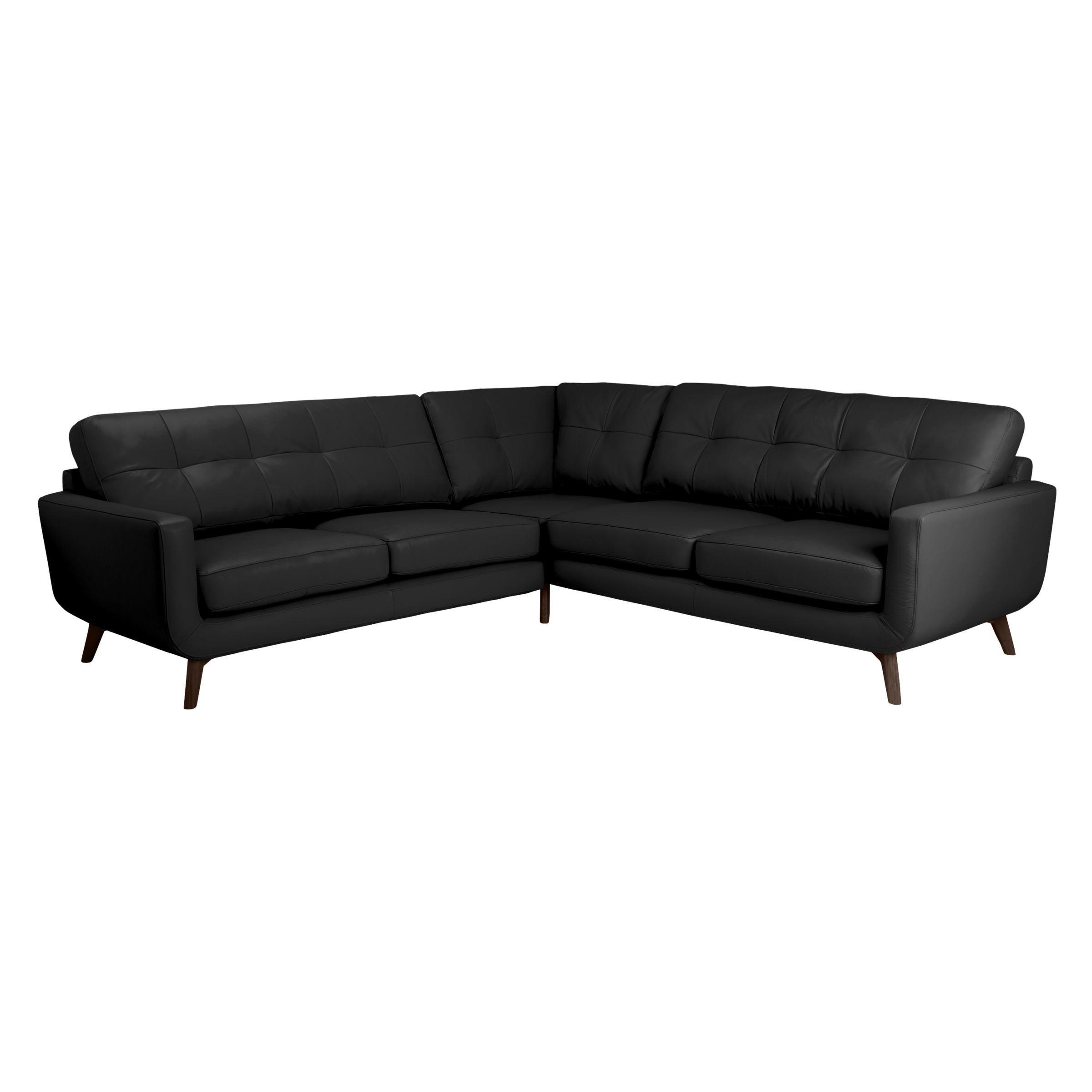 John Lewis Partners Barbican Leather Corner Sofa Dark Leg Leather Corner Sofa Corner Sofa Large Sofa