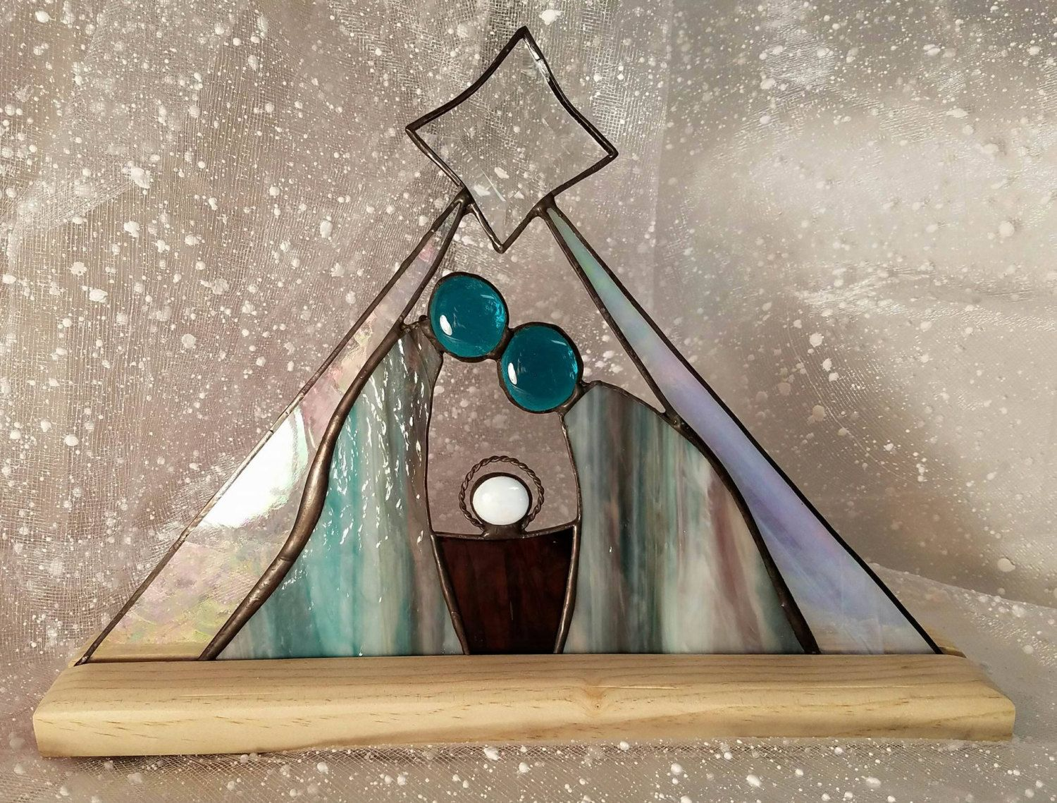 Stained Glass Christmas Nativity Etsy Stained Glass Christmas Stained Glass Ornaments Stained Glass Diy