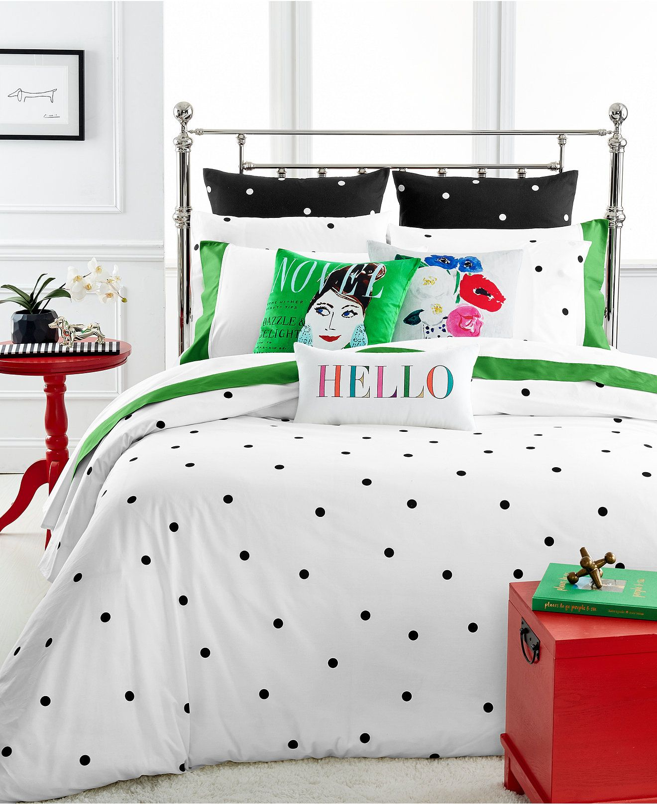kate spade new york Deco Dot White forter and Duvet Cover Sets