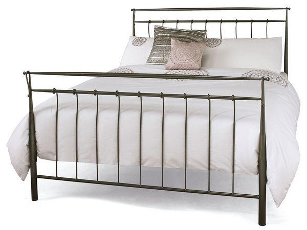 Serene Elizabeth 5ft King Size Grey Metal Bed Frame Grey Bed