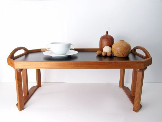 teak breakfast tray - detachable legs - danish modern serving