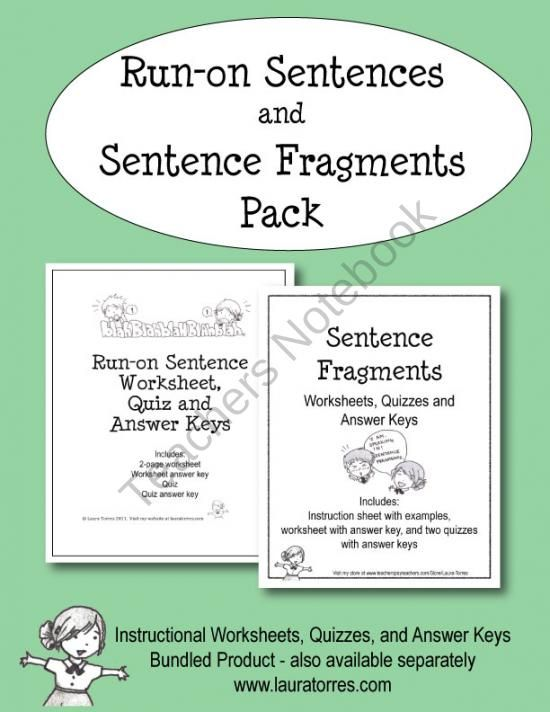 Run On Sentences And Sentence Fragment Pack Product From Lauratorres