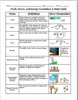 Work, Power, and Energy Vocabulary and Study Guide | Work, Power ...