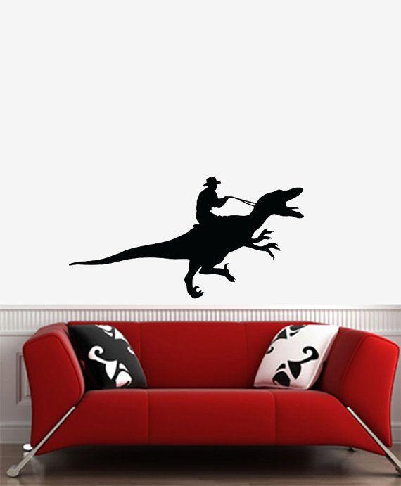 Wall Raptor Rodeo Cowboy Dinosaur Vinyl Wall Decal Large