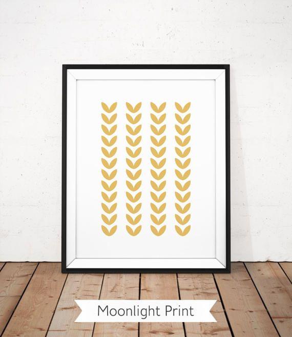 Scandinavian Print, Leaf Wall Art, Gold Yellow Printable, Yellow ...