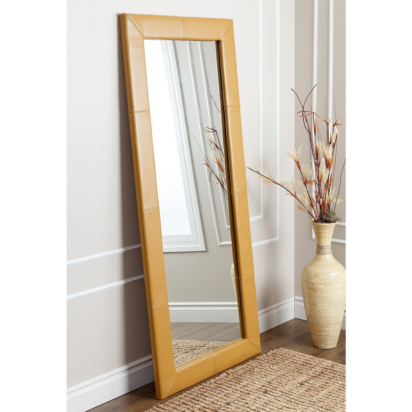 ABBYSON LIVING Delano Yellow Leather Floor Mirror
