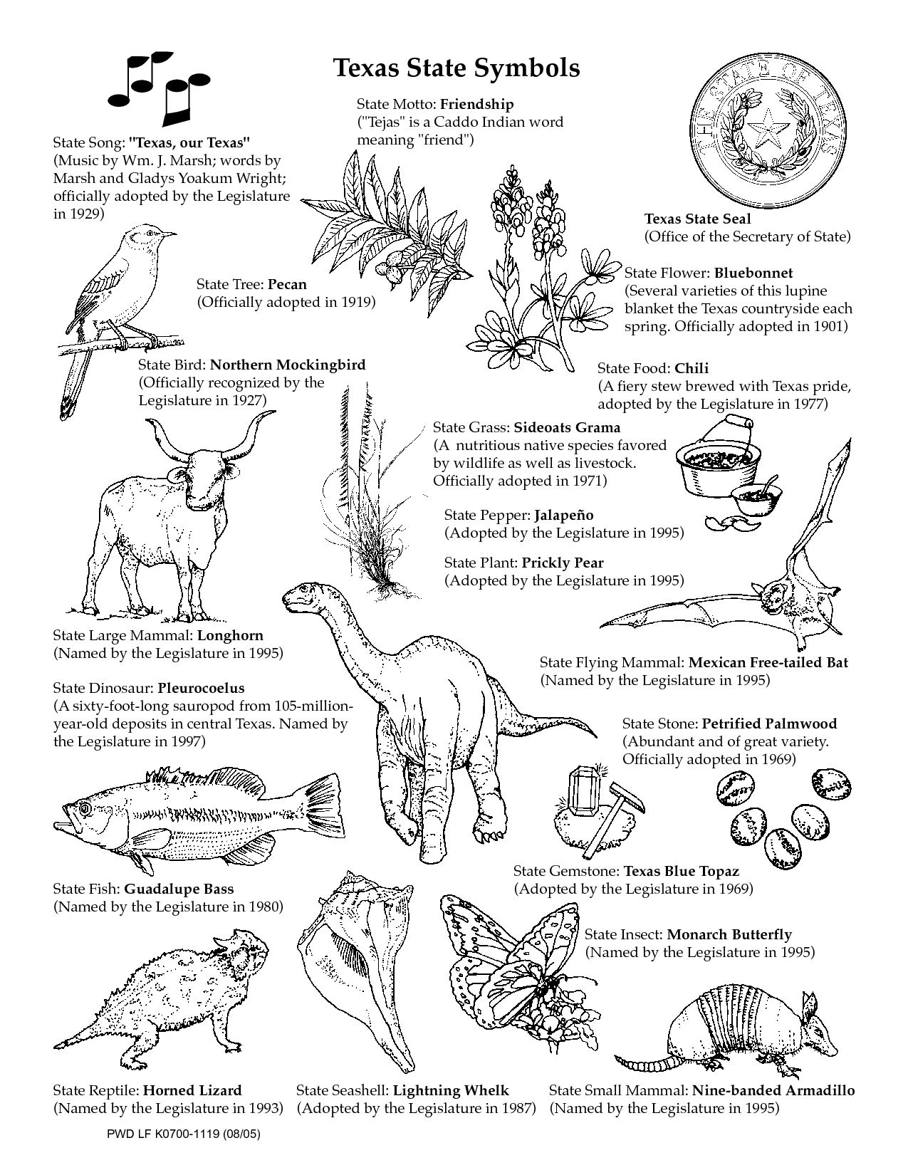 Texas Symbols Worksheets | Texas State Symbols Coloring Pages ...