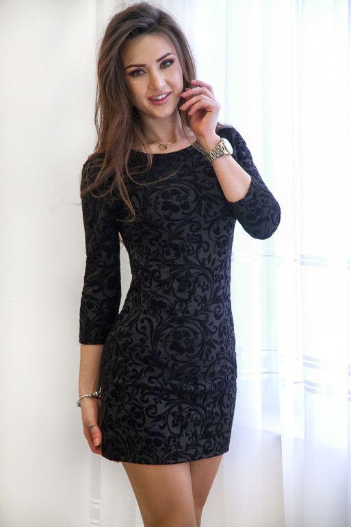 Czarna Sukienka Mini W Welurowe Kwiaty Long Sleeve Dress Dresses Fashion