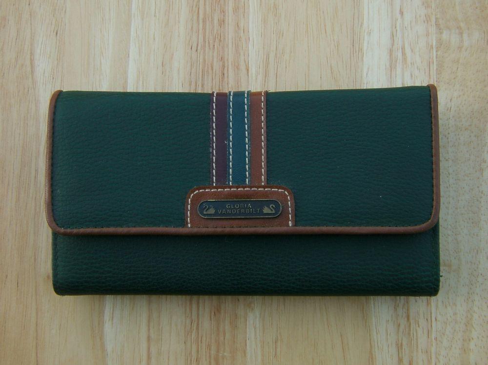 fcb30e42b87 Vintage Gloria Vanderbilt Wallet Bifold Green Brown Roger Gimbel ...