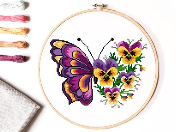 Photo of Floral butterfly Modern Cross Stitch Pattern, flower counted cross stitch chart, nature, hoop embroidery, Instant download PDF