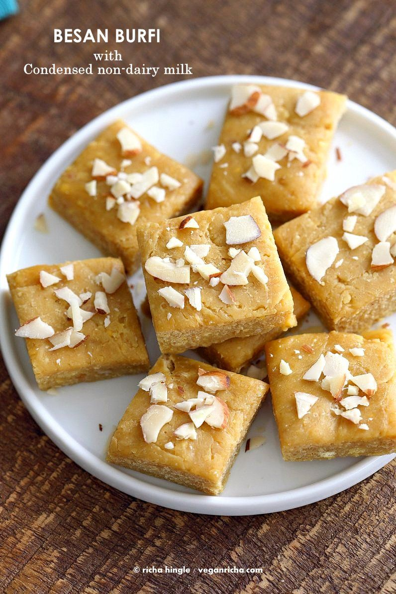Besan Burfi With Condensed Milk Dairy Free Chickpea Flour Fudge Vegan Richa Recipe Indian Dessert Recipes Condensed Milk Recipes Indian Desserts