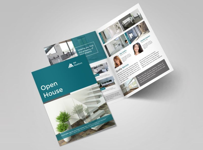 brochure bifold teal open house bi fold brochure template ...
