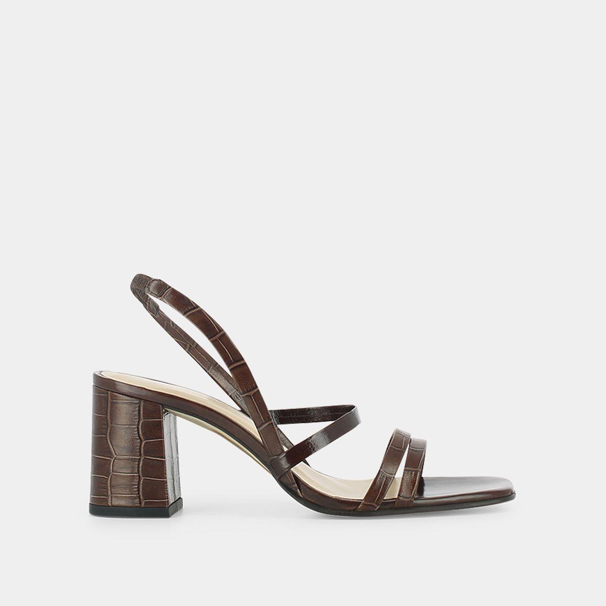 Sandales à talon Jonak en cuir vieilli croco marron
