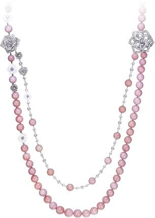 Piaget 18K White Gold Rose Necklace with Diamonds & Pearls 5ZpLb1kUd