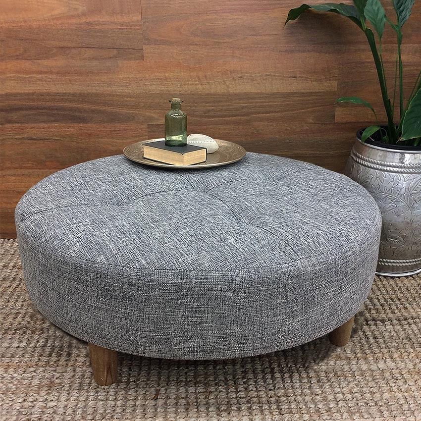 large round coffee table ottoman fabric