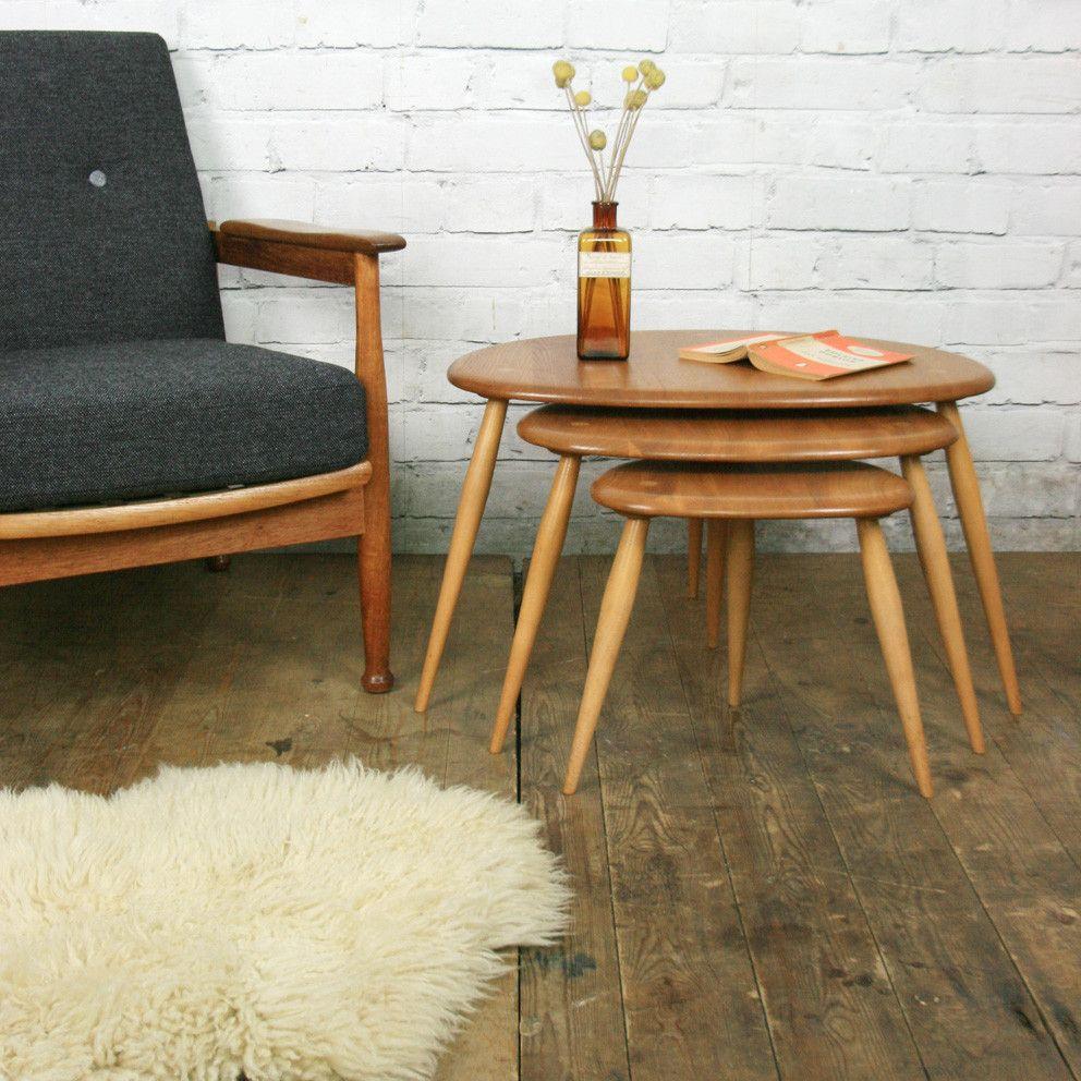 Vintage Elm   Beech Ercol Pebble Nest of Tables. Vintage Elm   Beech Ercol Pebble Nest of Tables   RETRO MID