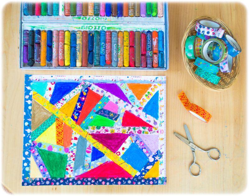 Paul Klee Lines Inspired Kids Washi Tape Resist Oil Pastels Craft Art History Unit Study Art History Unit Study Tape Art Art Lessons