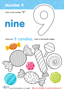 Coloring Page Number 9 Preschool Math Kids Preschool Kindergarten Kindergartenworksheets Preschoolworksheets Worksheets Printables Lettering Learnin