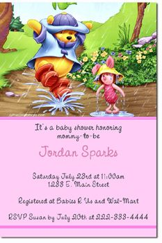 Winnie The Pooh Babyshower Invitations Choose Your Color Scheme