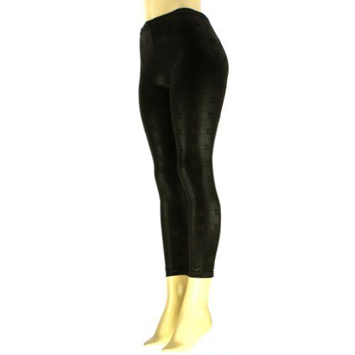 """Ladies Spandex Shiny Squared Plaid Full Leggings Stretch Footless Black SK Hat shop. $9.95. Length: 35-5/8"""" Inseam: 27-5/8"""". Style#: leggings_lgp35. Fabrication: 85% Acrylic 5% Nylon 10% Spandex. Color: Black (as shown, Other colors available in our store). Size: Ladies & Teens, One size fits most(Flat Measurements: Waist 27"""", elastic will stretch). Save 72%!"""