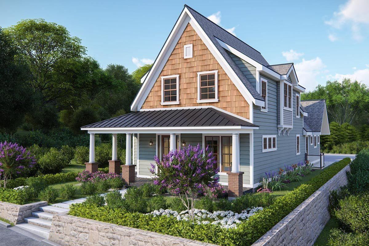 Plan 25409tf Charming 4 Bedroom Cottage Plan For Narrow Lot Cottage Plan House Plans Farmhouse Narrow House Plans