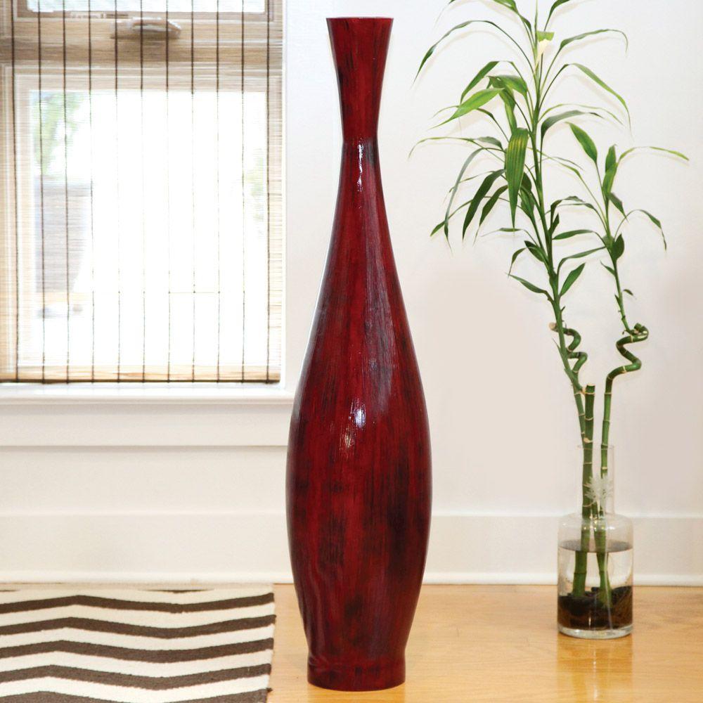 PoliVaz Red Bamboo Large Decorative Vase (Indonesia