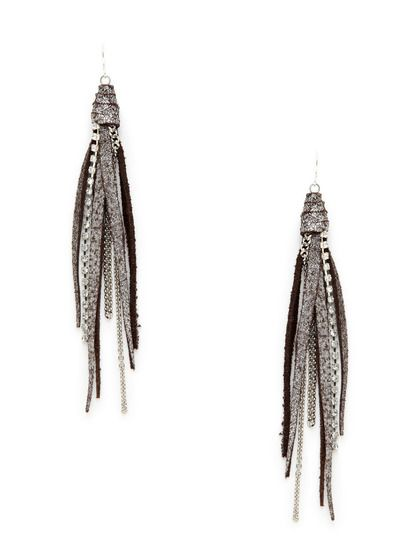 Leather Crystal Gold Chain Drop Earrings By Presh On Gilt
