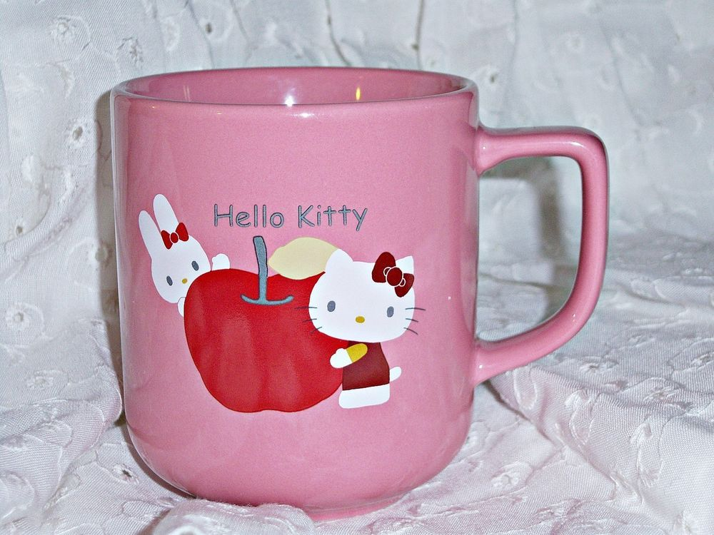 Spoon /& Coaster 500ML Hello Kitty Cute Ceramic Coffee Mug c//w Top