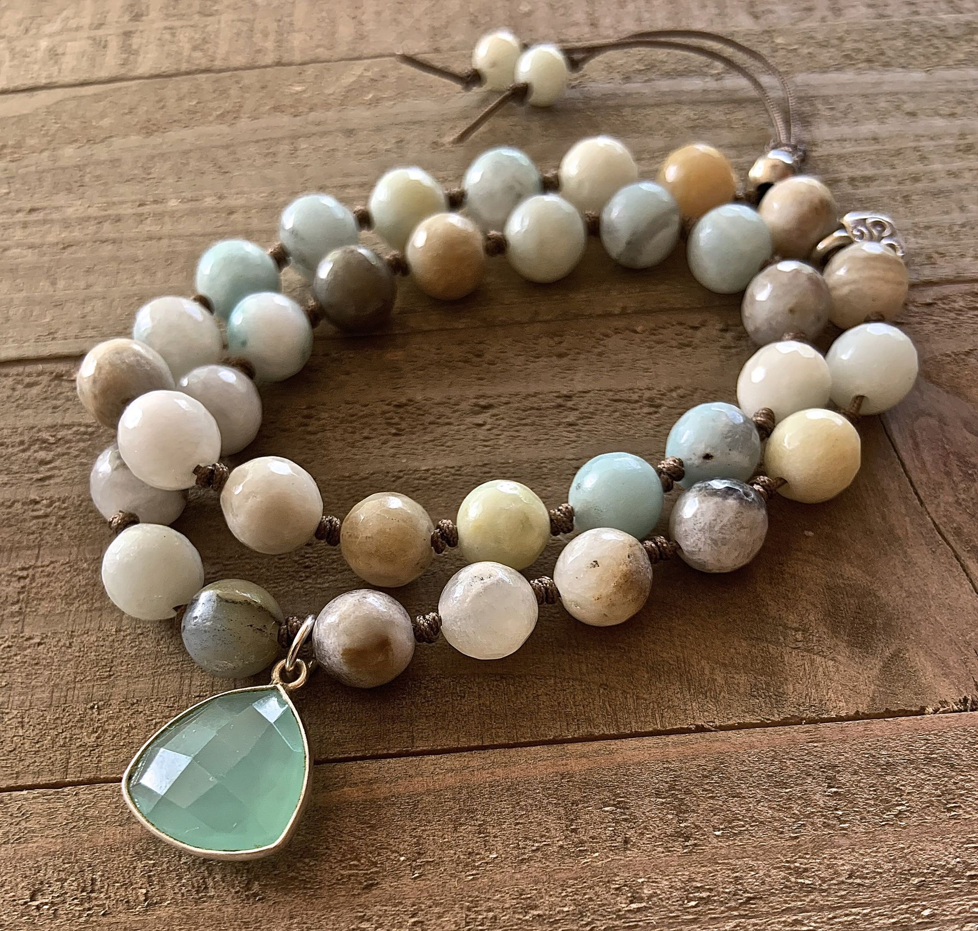 Amazonite 8mm Single Bead Stackable Knotted Bracelet