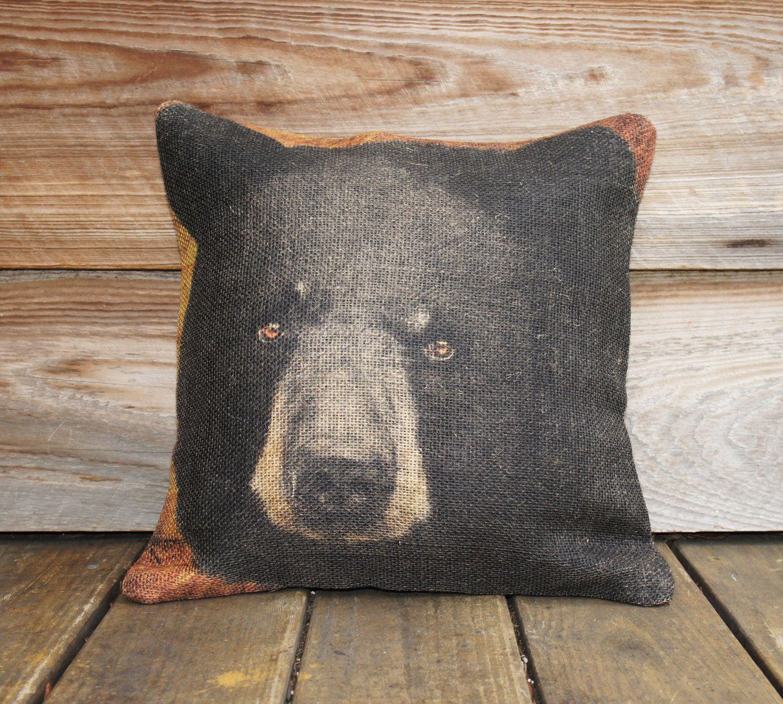 Burlap Pillow Cover of Black Bear, Throw Pillow, Cushion Cover, Rustic Furniture 16x16 Cabin Lodge Mountain. $46,00, via Etsy.